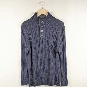 Tasso Elba Navy Blue Marled 1/4 Zip Knit Sweater